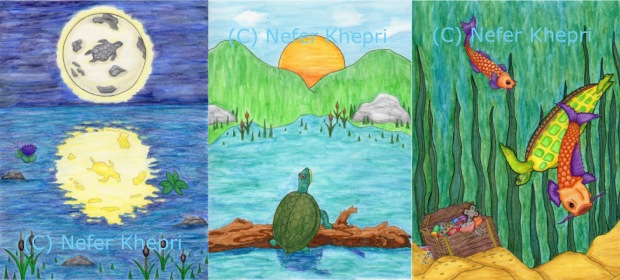 The Turtle Lenormand by Nefer Khepri, PhD: Moon, Sun & Fish cards.