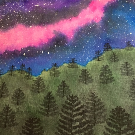 Fir trees for a Tombow brush marker galaxy painting.
