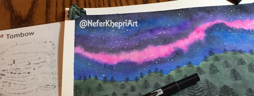 Completed galaxy watercolor painting using Tombow dual-tipped brush pens.