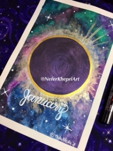 "Full moon total eclipse watercolor painting with ""January"" handwritten"